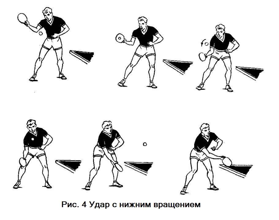Удар с нижним вращением в настольном теннисе