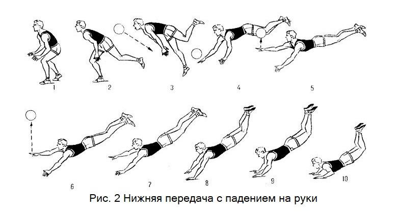 Техника падения на руки в волейболе