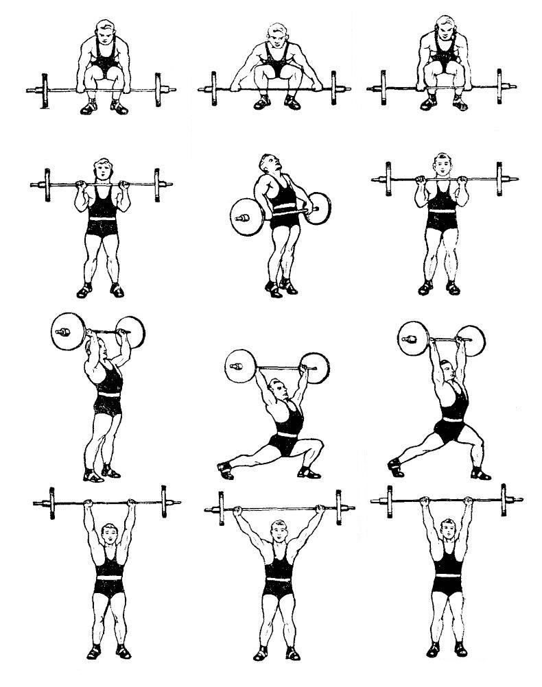 три упражнения на две руки: жим, рывок и толчок