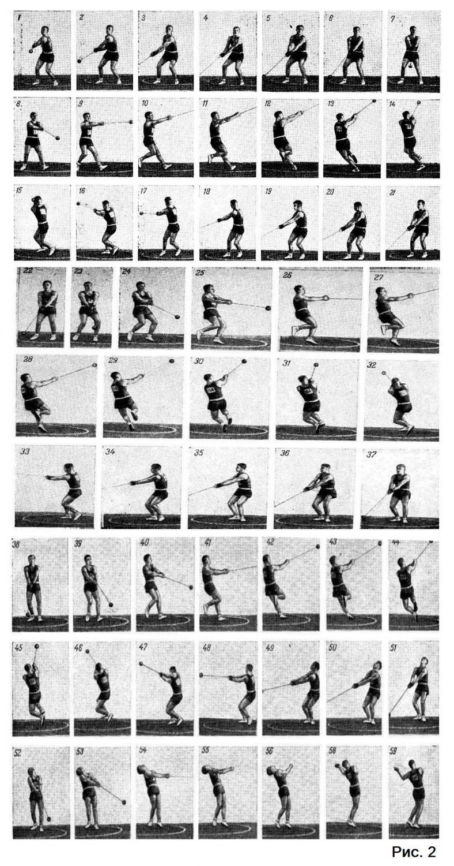 технику метания молота демонстрирует рекордсмен СССР М. Кривоносое