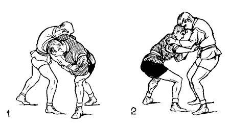 Борьба самбо. Осаживание на обе ноги