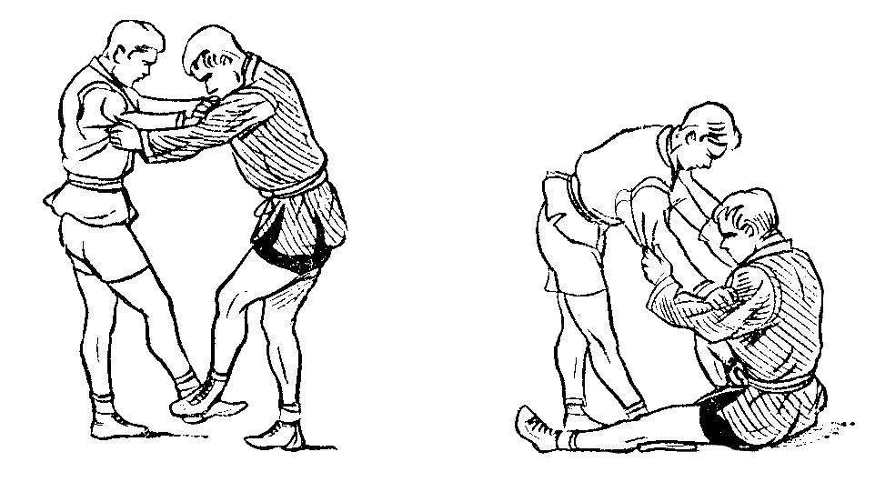 Борьба самбо. Боковая подножка от боковой подсечки