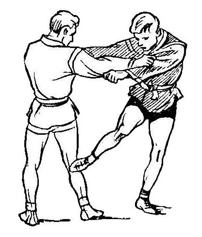 Борьба самбо. Задняя подсечка в колено
