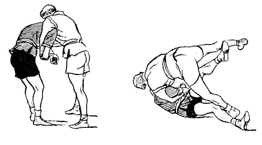 Борьба самбо. Бросок с обратным захватом руки под плечо