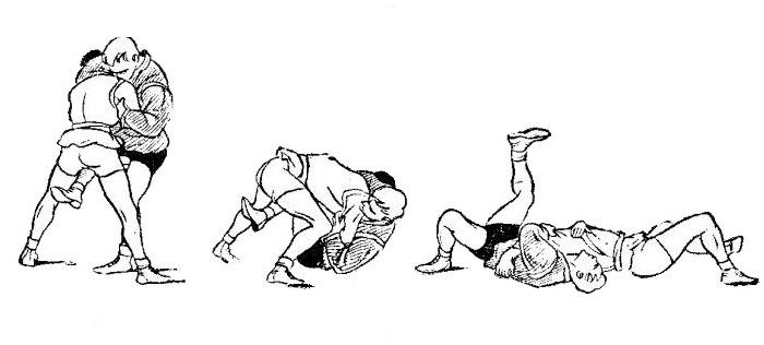 Борьба самбо. Бросок через голову с подсадом голенью