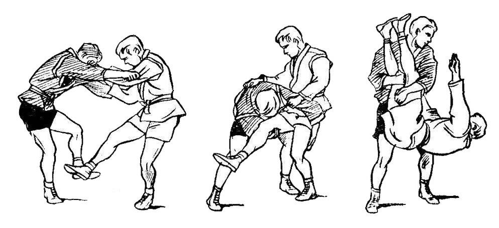 Борьба самбо. Бросок обратным захватом двух ног от боковой подсечки