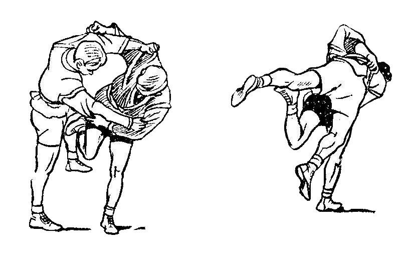 Борьба самбо. Подсечка изнутри в колено