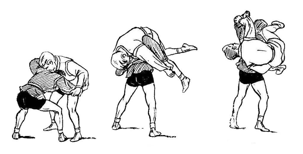 Борьба самбо. Бросок через плечи с захватом рук