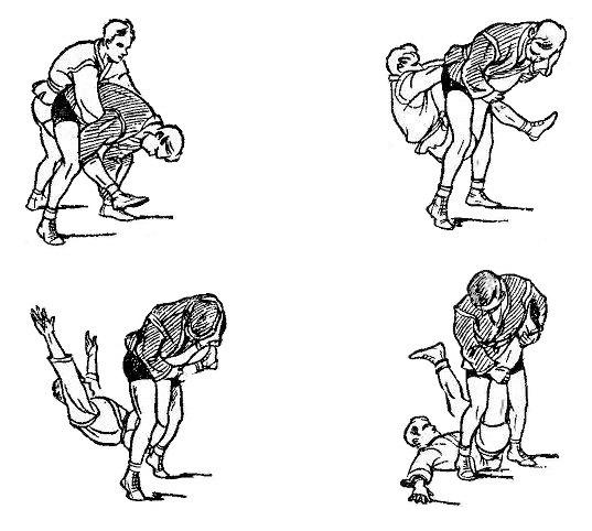 Борьба самбо. Приём против обхвата туловища сзади