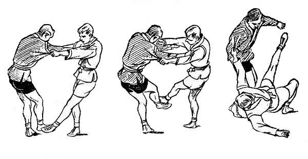 Борьба самбо. Приём после защиты от боковой подсечки