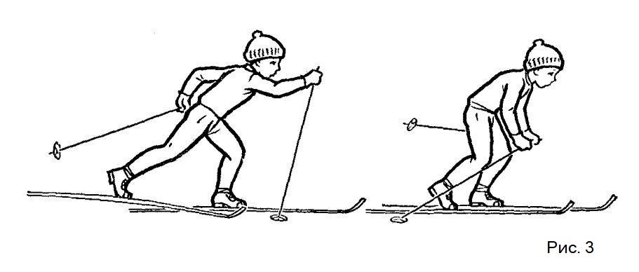 Обучение ходьбе на лыжах с палками
