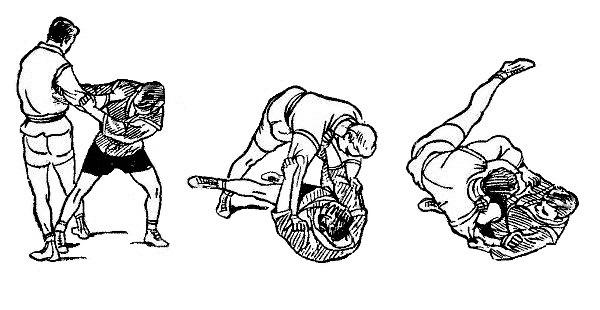 Борьба самбо. Подсад голенью с падением против задней подножки