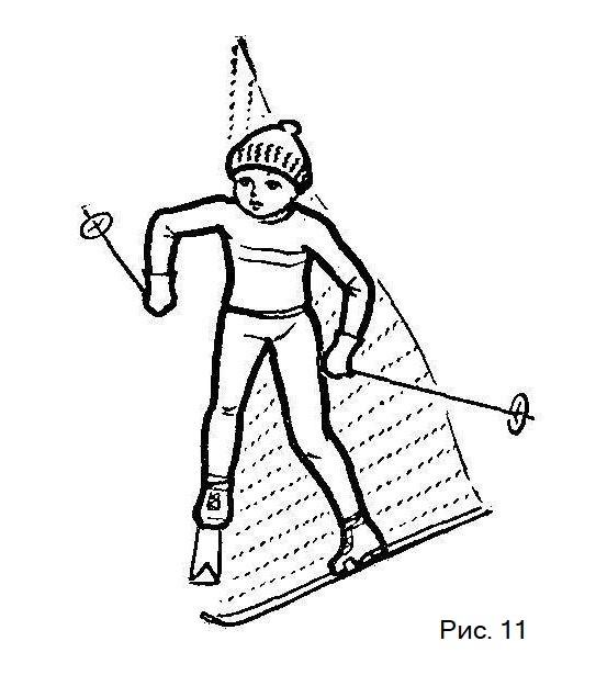 Торможение полуплугом на лыжах