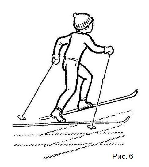 Поворот на лыжах переступанием