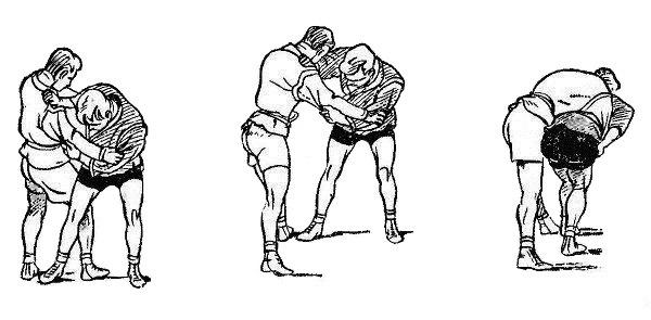 Борьба самбо. Бросок с захватом руки под плечо от задней подножки