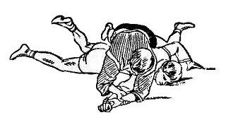 Борьба самбо. Перегибание локтя при помощи предплечья сверху