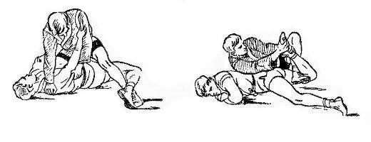 Борьба самбо. Ущемление ахиллесова сухожилия через голень от выкручивания ноги ногой.