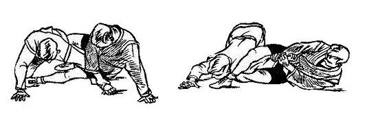 Борьба самбо. Перегибание локтя при помощи ноги сверху
