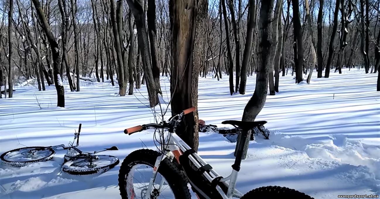 Катание зимой на велосипеде